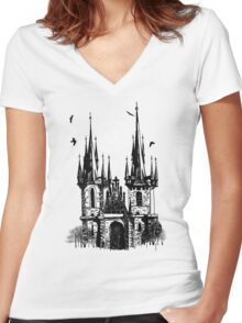 castle  Women's Fitted V-Neck T-Shirt