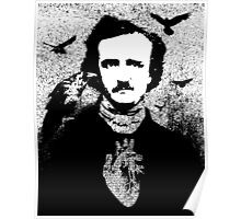 Poe with Ravens and Heart, transparent background Poster