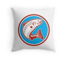 Trout Fish Jumping Circle Retro Throw Pillow