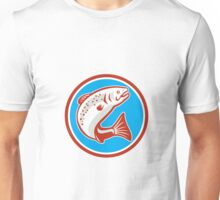 Trout Fish Jumping Circle Retro Unisex T-Shirt