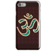 OM, gold, adorned with diamonds, malachite inlay iPhone Case/Skin