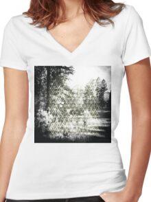 Digital Landscape #3 Women's Fitted V-Neck T-Shirt