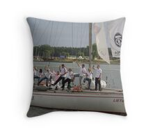 "my a young daughter traveling around Europe 1,5 month with sailing-boat ""Lietuva"" Throw Pillow"