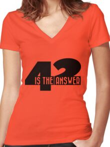 42 is the answer Women's Fitted V-Neck T-Shirt