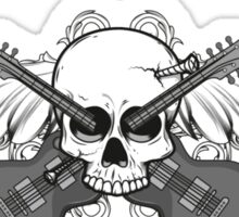 Nailed rock skull with wings and guitars Sticker