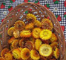 strawflowers in summer farmers market basket by Laurkat