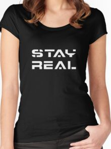 Stay Real (White) Women's Fitted Scoop T-Shirt