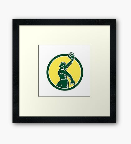 Basketball Player Dunk Ball Circle Retro Framed Print