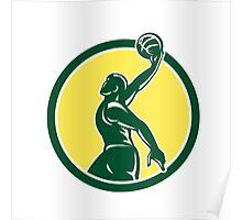 Basketball Player Dunk Ball Circle Retro Poster