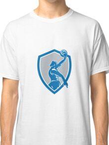 Basketball Player Dunk Ball Shield Retro Classic T-Shirt
