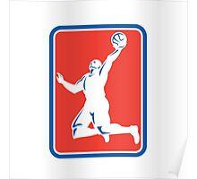 Basketball Player Rebounding Lay-Up Ball Rectangle Poster