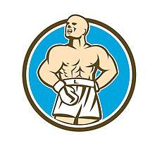 Boxer Champion Shouting Circle Retro by patrimonio