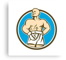 Boxer Champion Shouting Circle Retro Canvas Print