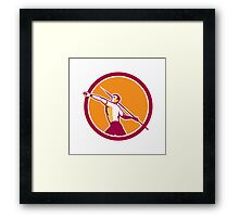 Javelin Throw Track and Field Athlete Circle Framed Print