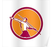 Javelin Throw Track and Field Athlete Circle Poster