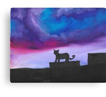 Black Cat and Bright Night Sky Canvas Print