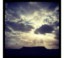 Cloudy Day Over Desert Mountain Photographic Print