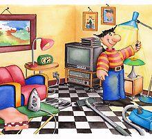 OELLIE, cleaning his livingroom by Colette van der Wal