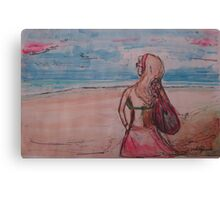 summer beach girl watercolor Canvas Print