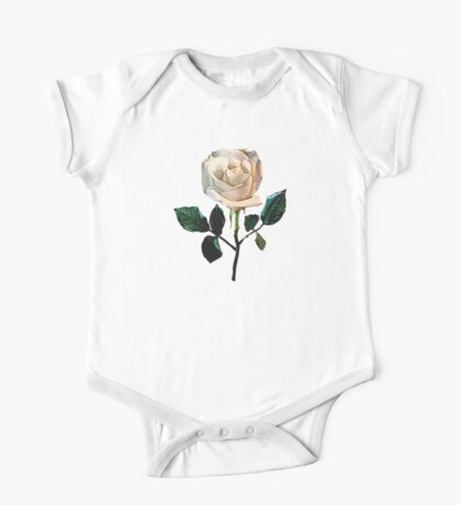 Delicate White Rose One Piece - Short Sleeve