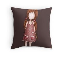 Girl with her teddy Throw Pillow