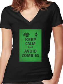 Keep Calm and Avoid Zombies Women's Fitted V-Neck T-Shirt