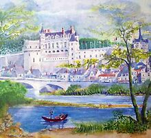 Chateau Amboise watercolor painting  by coolart