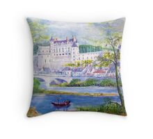 Chateau Amboise watercolor painting  Throw Pillow