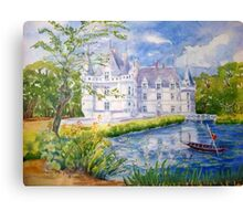 Chateau Azay le Rideau watercolor painting Canvas Print