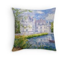 Chateau Azay le Rideau watercolor painting Throw Pillow