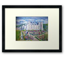 Chateau de Villendry watercolor painting Framed Print