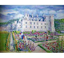 Chateau de Villendry watercolor painting Photographic Print
