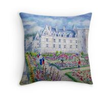 Chateau de Villendry watercolor painting Throw Pillow