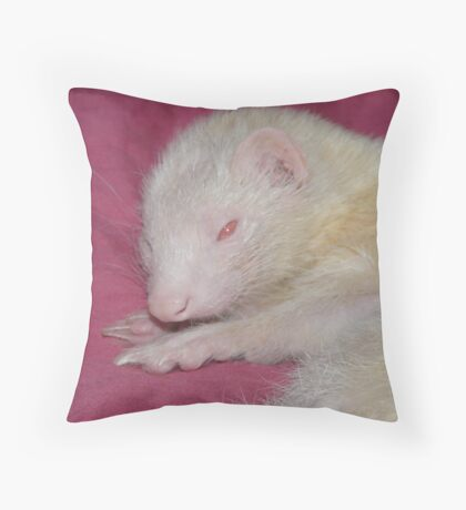 Albino Ferret Hanfi Throw Pillow