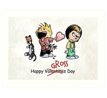 Valentines Day Calvin and Hobbes and Susie Fan Art Art Print