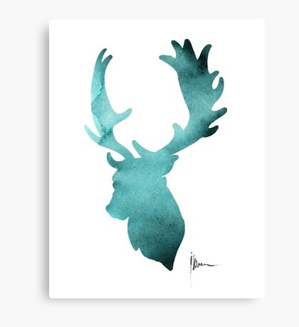 Deer head silhouette painting watercolor art print Canvas Print