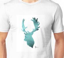 Deer head silhouette painting watercolor art print Unisex T-Shirt