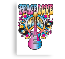 Peace, Love and Music in Bright Colors Canvas Print