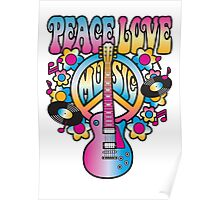 Peace, Love and Music in Bright Colors Poster