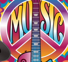 Peace, Love and Music Sticker