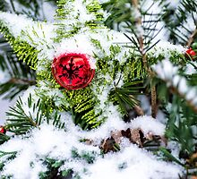 Red Jingle Bell and Snow by KellyHeaton