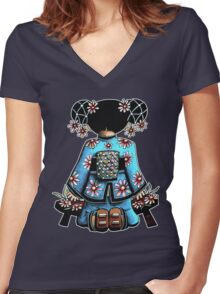 Asia Blue Doll (large design) Women's Fitted V-Neck T-Shirt