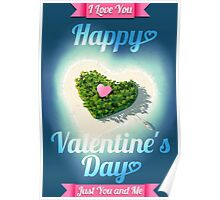 Happy Valentine's Day Tropical Island  Poster