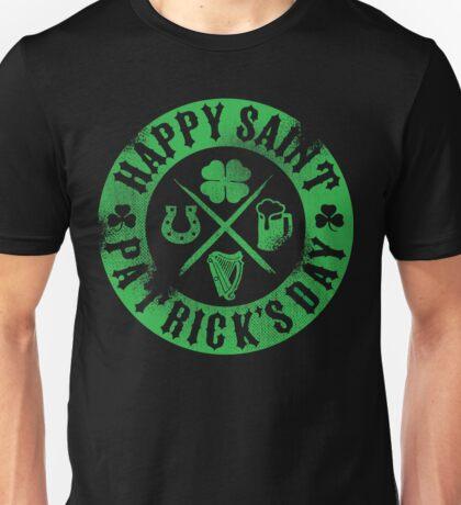 Saint Patrick's Day Green Badge Logo Unisex T-Shirt