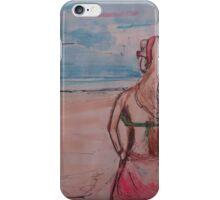 summer beach girl watercolor iPhone Case/Skin