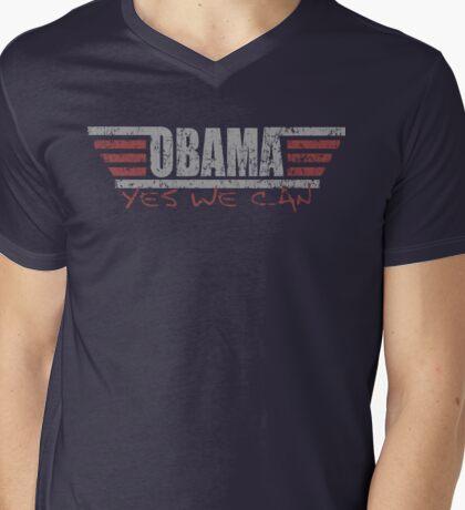 Barack Topgun Obama t shirt Mens V-Neck T-Shirt