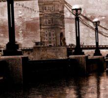 London Bridge in the rain Sticker