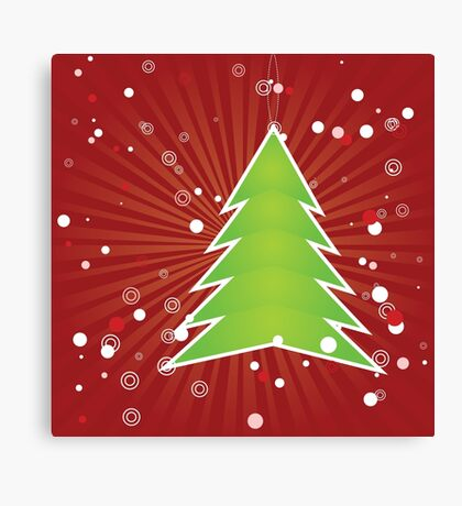 Christmas tree green applique Canvas Print