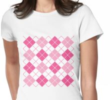 Pink Argyle Womens Fitted T-Shirt