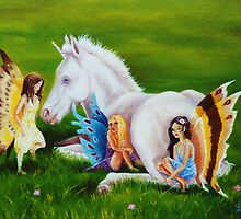 Unicorn Foal & Three Faeries by louisegreen